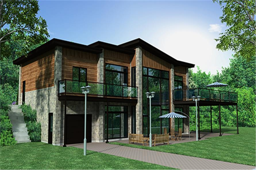 Home Plan Rendering of this 4-Bedroom,1744 Sq Ft Plan -1744