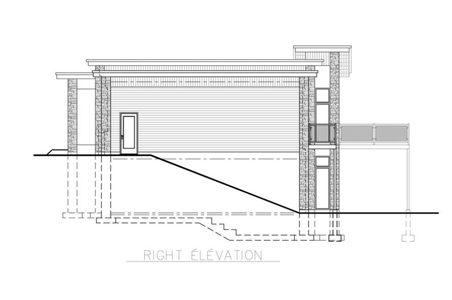 Home Plan Right Elevation of this 4-Bedroom,1744 Sq Ft Plan -158-1257