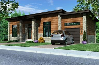 4-Bedroom, 1744 Sq Ft Contemporary House Plan - 158-1257 - Front Exterior