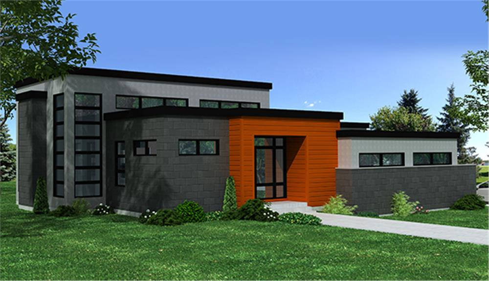 Front elevation of Contemporary home (ThePlanCollection: House Plan #158-1258)