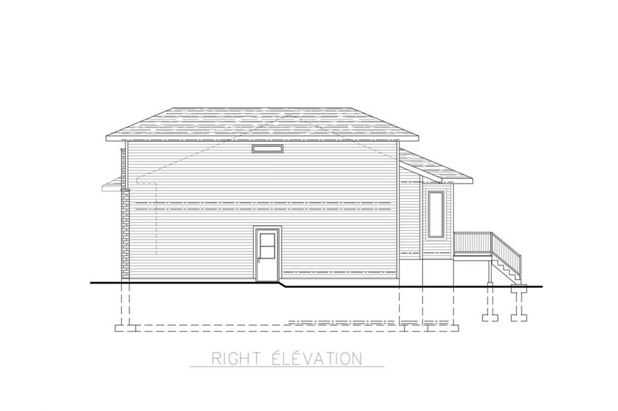 Home Plan Right Elevation of this 3-Bedroom,1684 Sq Ft Plan -158-1259