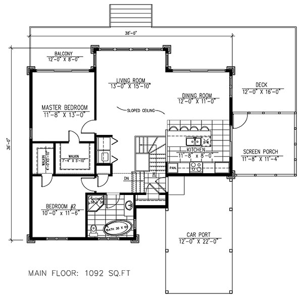 2 Bedrm 1092 Sq Ft Modern House Plan 158 1260