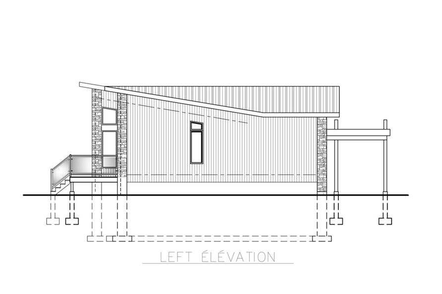 Home Plan Left Elevation of this 2-Bedroom,1092 Sq Ft Plan -158-1260