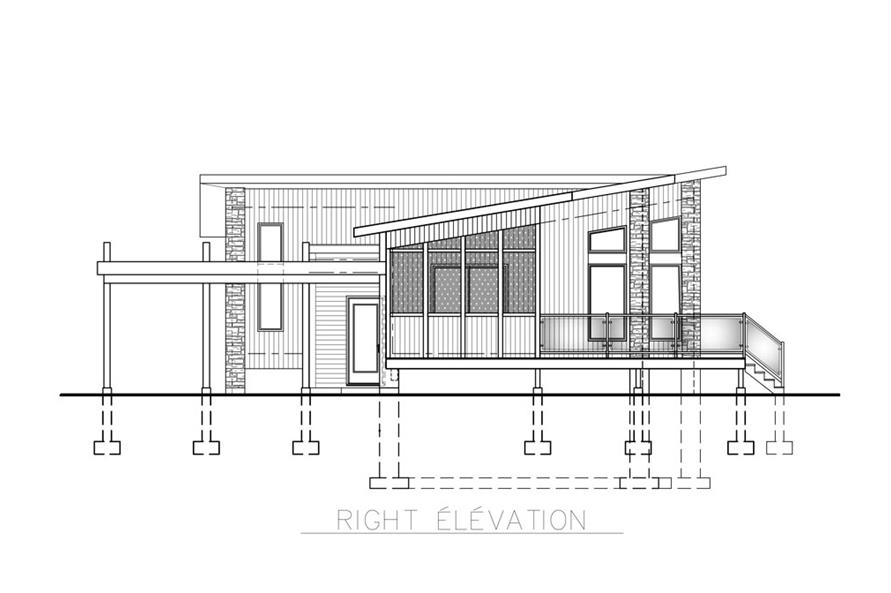 Home Plan Right Elevation of this 2-Bedroom,1092 Sq Ft Plan -158-1260
