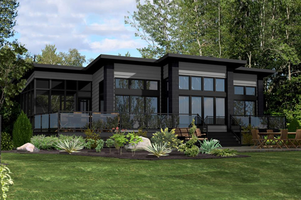 2 bedrm 1092 sq ft modern house plan 158 1260 for Maison californienne plan