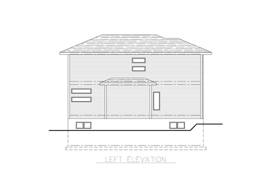 Home Plan Left Elevation of this 3-Bedroom,1891 Sq Ft Plan -158-1261