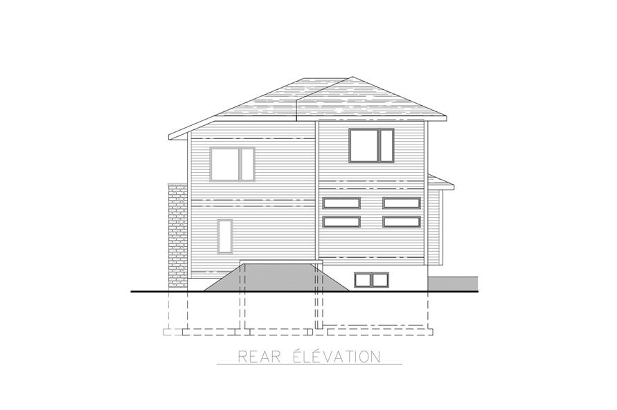 Home Plan Rear Elevation of this 3-Bedroom,1891 Sq Ft Plan -158-1261