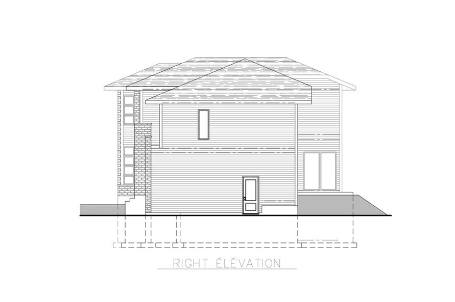 Home Plan Right Elevation of this 3-Bedroom,1891 Sq Ft Plan -158-1261