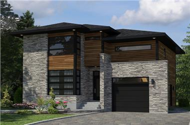 3-Bedroom, 1891 Sq Ft Contemporary House Plan - 158-1261 - Front Exterior