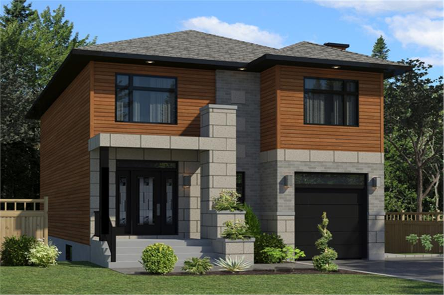 Front elevation of Contemporary home (ThePlanCollection: House Plan #158-1262)