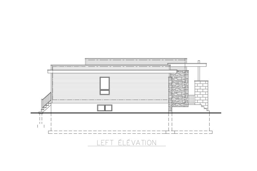 Home Plan Left Elevation of this 3-Bedroom,1268 Sq Ft Plan -158-1263