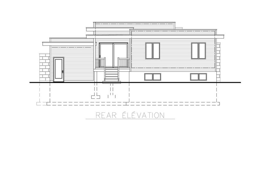 Home Plan Rear Elevation of this 3-Bedroom,1268 Sq Ft Plan -158-1263