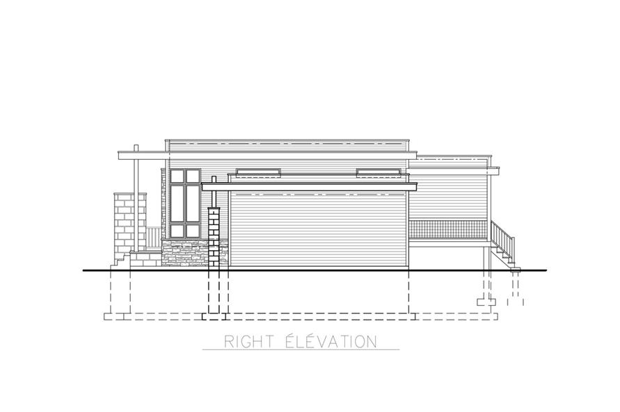 Home Plan Right Elevation of this 3-Bedroom,1268 Sq Ft Plan -158-1263