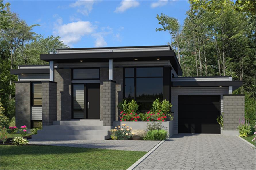 3-Bedroom, 1268 Sq Ft Contemporary House Plan - 158-1263 - Front Exterior