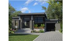 Front elevation of Contemporary home (ThePlanCollection: House Plan #158-1263)