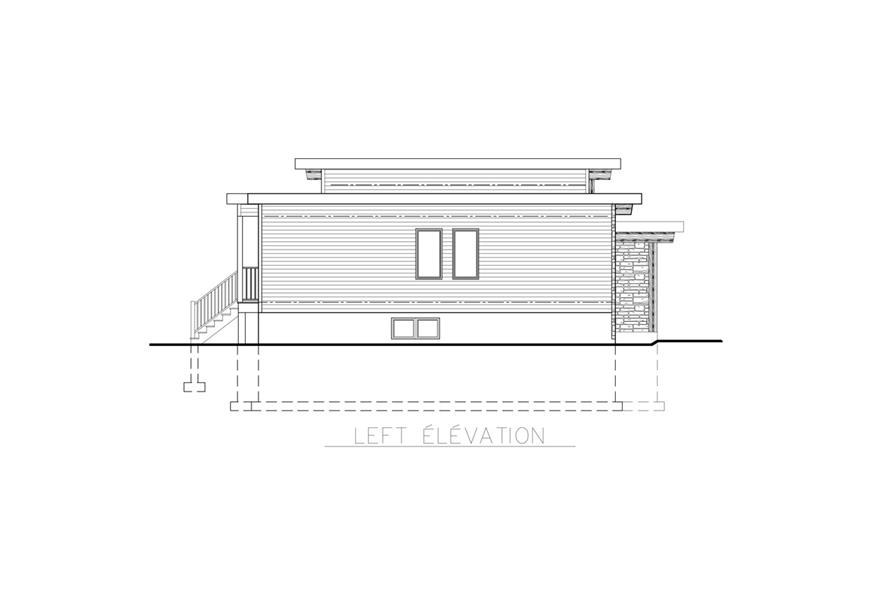 Home Plan Left Elevation of this 2-Bedroom,1013 Sq Ft Plan -158-1264