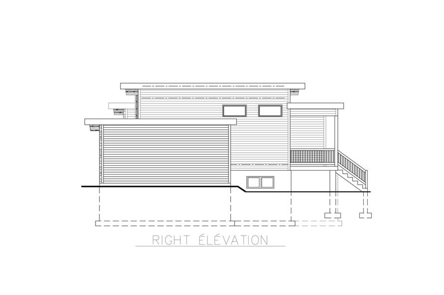 Home Plan Right Elevation of this 2-Bedroom,1013 Sq Ft Plan -158-1264