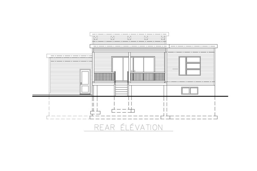 Home Plan Rear Elevation of this 2-Bedroom,1013 Sq Ft Plan -158-1264
