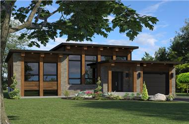 2-Bedroom, 1013 Sq Ft Contemporary House Plan - 158-1264 - Front Exterior