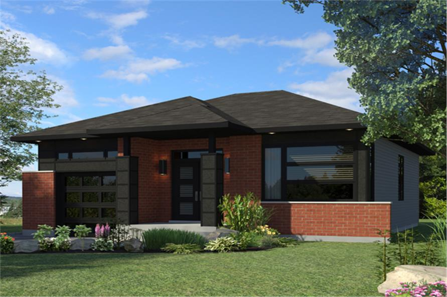 Front elevation of Contemporary home (ThePlanCollection: House Plan #158-1266)