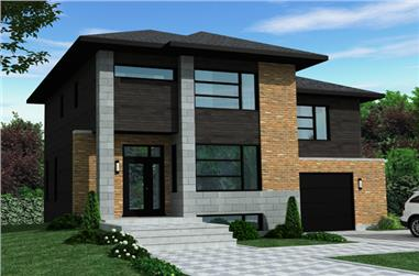 3-Bedroom, 1934 Sq Ft Contemporary House Plan - 158-1266 - Front Exterior