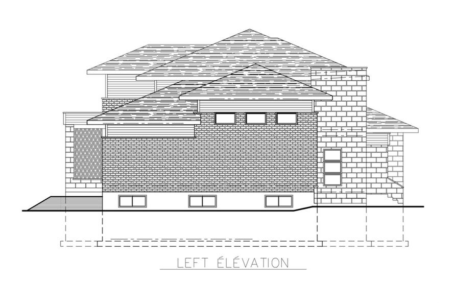 Home Plan Left Elevation of this 3-Bedroom,2599 Sq Ft Plan -158-1268
