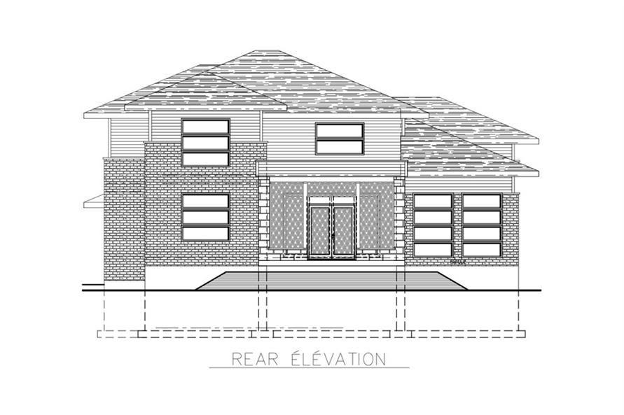 Home Plan Rear Elevation of this 3-Bedroom,2599 Sq Ft Plan -158-1268