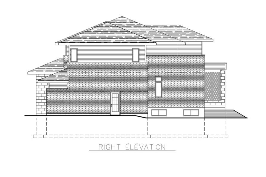 Home Plan Right Elevation of this 3-Bedroom,2599 Sq Ft Plan -158-1268