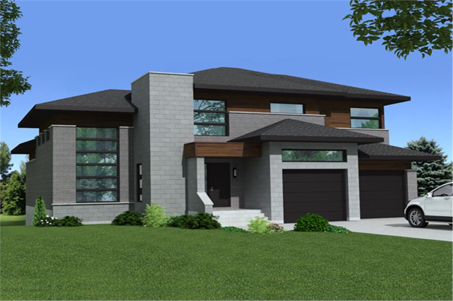 Front elevation of Contemporary home (ThePlanCollection: House Plan #158-1268)