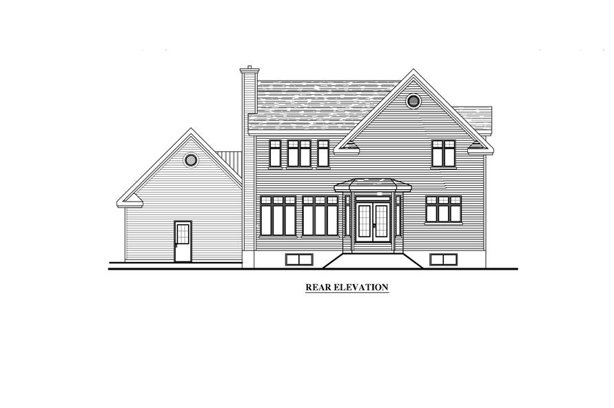 Home Plan Rear Elevation of this 4-Bedroom,2707 Sq Ft Plan -158-1270