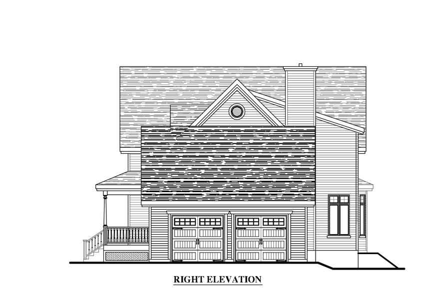 Home Plan Right Elevation of this 4-Bedroom,2707 Sq Ft Plan -158-1270