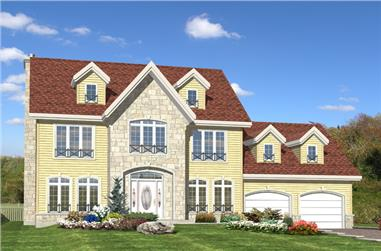 4-Bedroom, 2208 Sq Ft Colonial Home Plan - 158-1271 - Main Exterior
