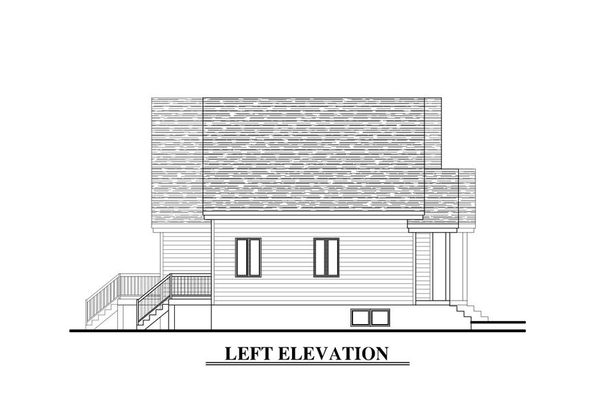 Home Plan Left Elevation of this 5-Bedroom,2130 Sq Ft Plan -158-1273