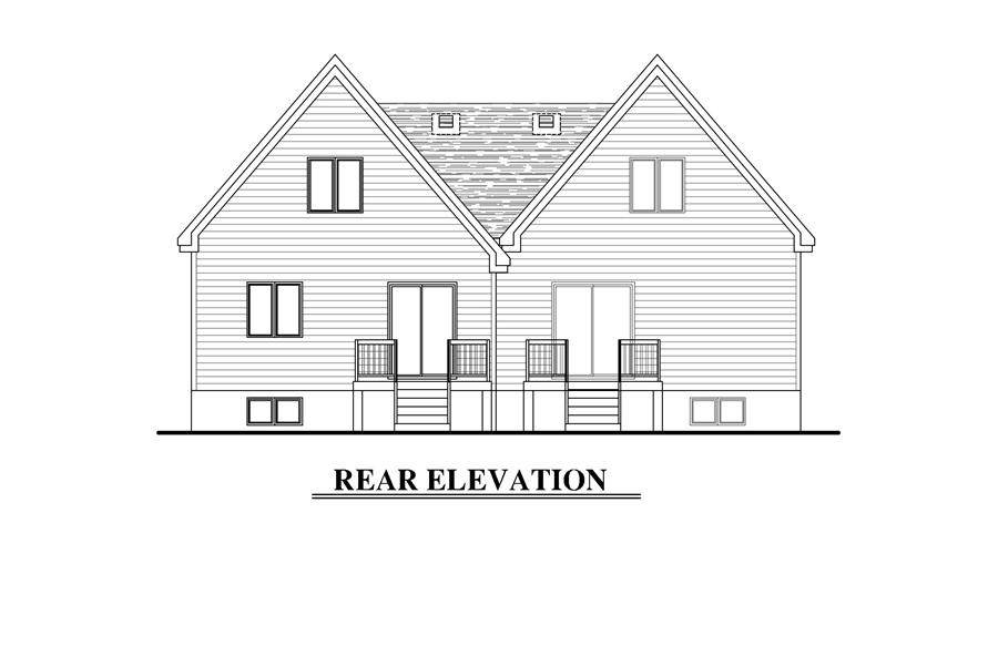 Home Plan Rear Elevation of this 5-Bedroom,2130 Sq Ft Plan -158-1273