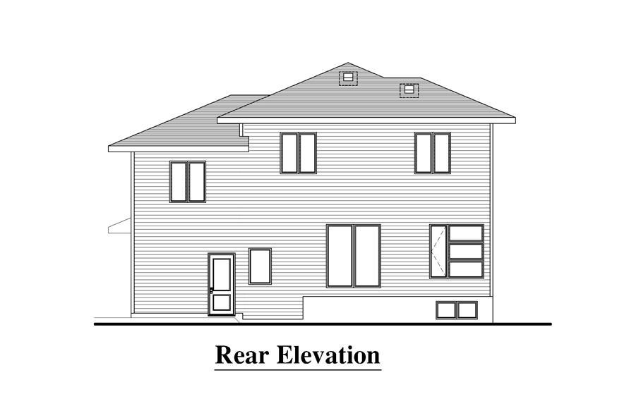 Home Plan Rear Elevation of this 3-Bedroom,1548 Sq Ft Plan -158-1274