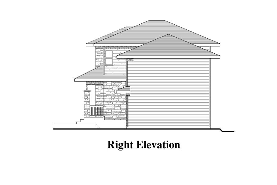 Home Plan Right Elevation of this 3-Bedroom,1548 Sq Ft Plan -158-1274