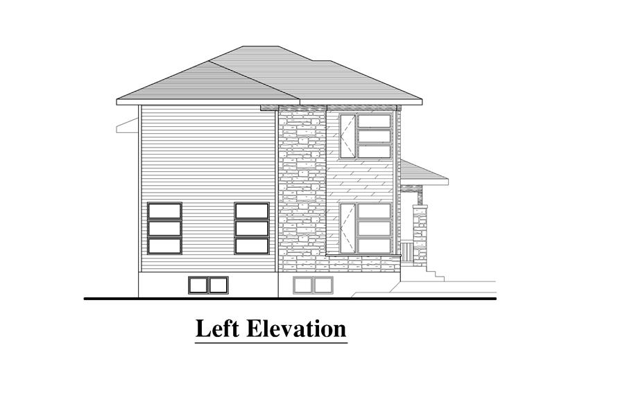 Home Plan Left Elevation of this 3-Bedroom,1548 Sq Ft Plan -158-1274