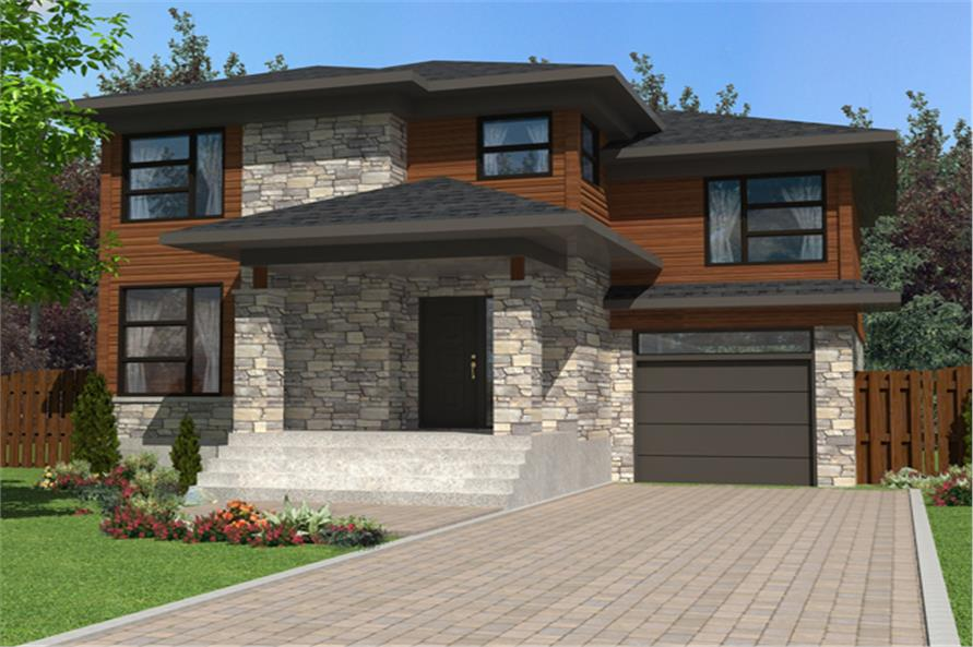 3-Bedroom, 1548 Sq Ft Contemporary Home Plan - 158-1274 - Main Exterior