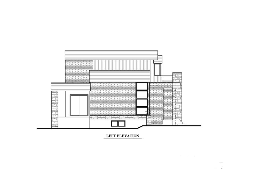 Home Plan Left Elevation of this 3-Bedroom,1850 Sq Ft Plan -158-1275