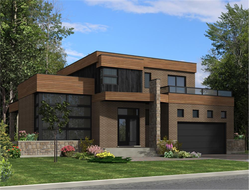 Front elevation of Contemporary home (ThePlanCollection: House Plan #158-1275)