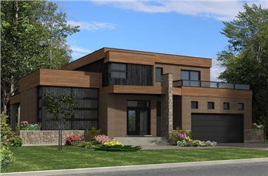3-Bedroom, 1850 Sq Ft Contemporary Home Plan - 158-1275 - Main Exterior