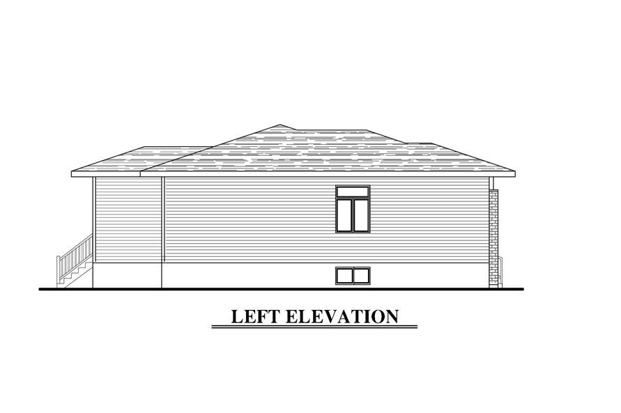 Home Plan Left Elevation of this 3-Bedroom,1438 Sq Ft Plan -158-1276