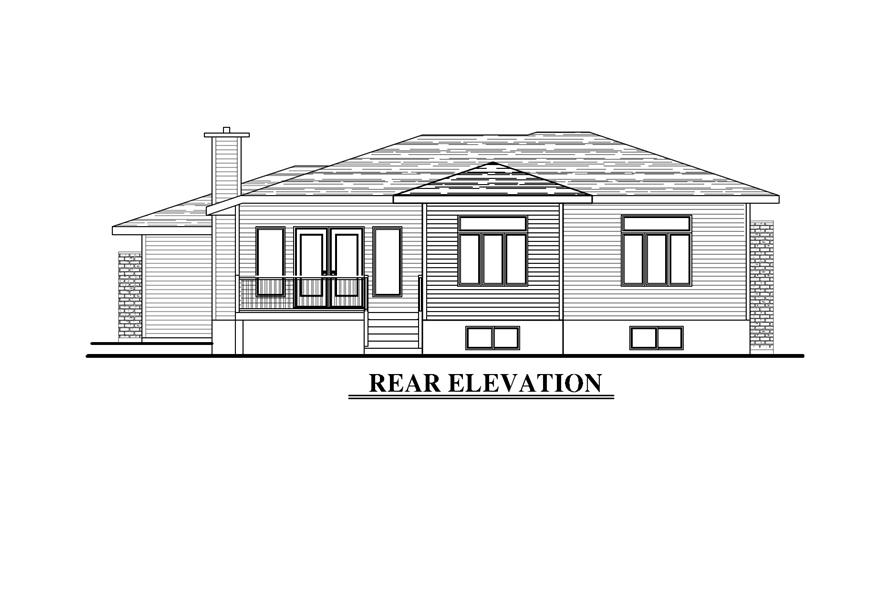 Home Plan Rear Elevation of this 3-Bedroom,1438 Sq Ft Plan -158-1276