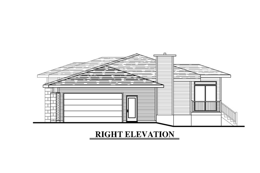 Home Plan Right Elevation of this 3-Bedroom,1438 Sq Ft Plan -158-1276