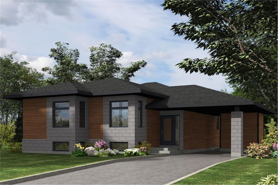 Front elevation of Contemporary home (ThePlanCollection: House Plan #158-1277)
