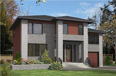 3-Bedroom, 1406 Sq Ft Contemporary Home Plan - 158-1278 - Main Exterior