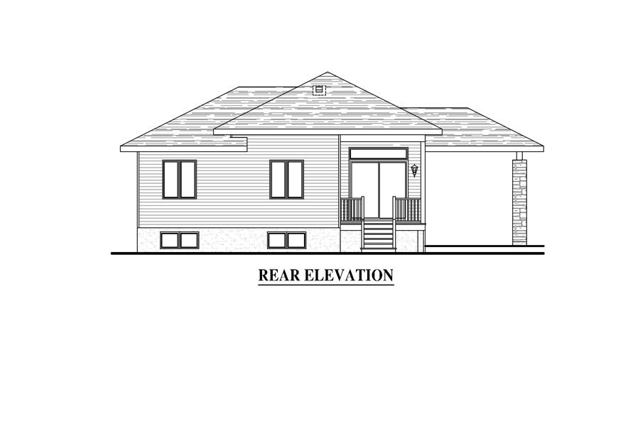 158-1279: Home Plan Rear Elevation