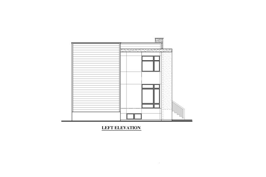 158-1280: Home Plan Left Elevation