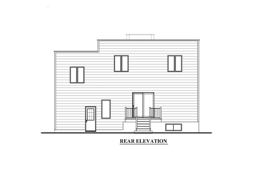 158-1280: Home Plan Rear Elevation
