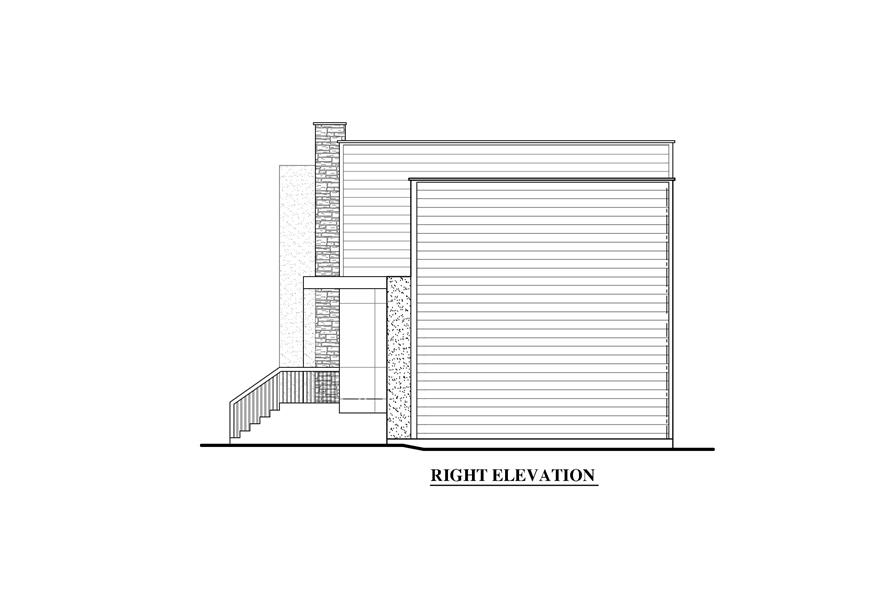 158-1280: Home Plan Right Elevation